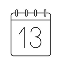 Thirteenth day month linear icon vector