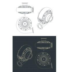 Turbo pump blueprints vector