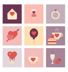 valentine day flat icon set vector image