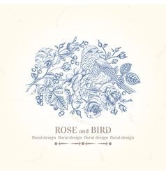Vintage wedding card with bird roses and berries vector