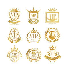 Vip club logo design set luxury golden badge vector