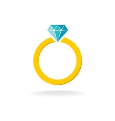 wedding engagement ring simple color symbol vector image