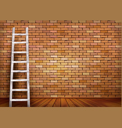 White ladder against and old a red brick wall vector