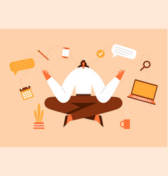 woman sitting in yoga pose office work and stress vector image