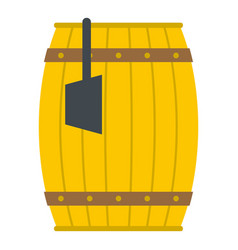 Wooden barrel with ladle icon isolated vector