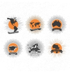 World maps badges set with vintage style star vector