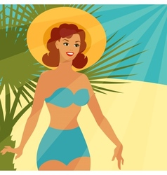 Card with beautiful pin up girl 1950s style on the vector image vector image