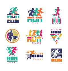 Run sport club logo templates set emblems for vector