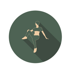 sporty woman sits on a floor vector image