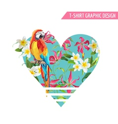 Tropical Flowers and Leaves Parrot Bird Graphic vector image vector image