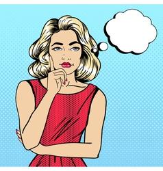 Woman thinking pretty girl woman doubts pop art vector