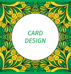 card design with floral decorative ornament vector image
