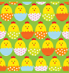 easter egg and chicken seamless pattern background vector image vector image