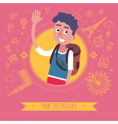 Time To Travel Card with Tourist vector image vector image