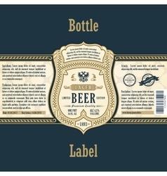 Vintage frame label Gold sticker bottle beer vector image