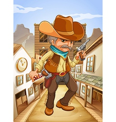 A man holding a gun with a hat outside the saloon vector image vector image