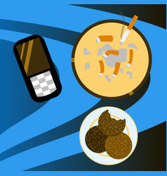 Cookie mobile phone and cigarette butts top vector