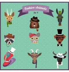 Fashion hipster animals set 4 vector