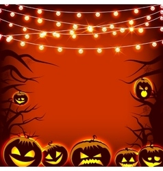 Greeting card pumpkin and dark trees Halloween vector image vector image
