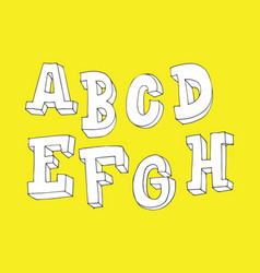 hand drawn letters sequence from a to h in 3d vector image vector image