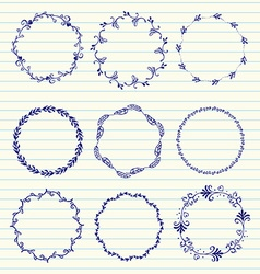 hand sketched wreaths vector image