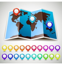Map world with colorful pin pointers location vector image