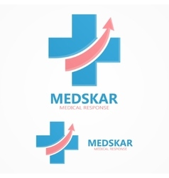 Medical cross with up arrow logo vector image vector image