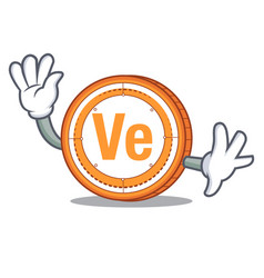 waving veritaseum coin character cartoon vector image vector image