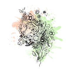 Black and white wild animal tiger head abstract vector image