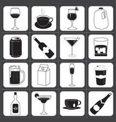 Drinks and Beverages Icon Collection vector image vector image