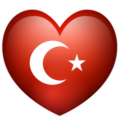 flag of turkey in heart shape vector image