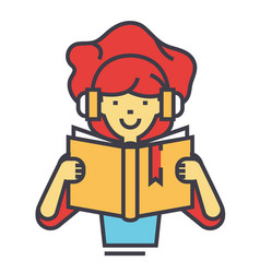 girl reading book in headphones concept line vector image vector image