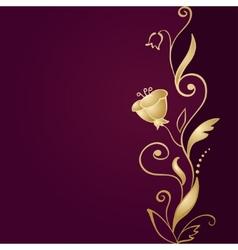 Golden floral ornament on green background vector image
