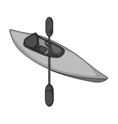 Kayak with oarsextreme sport single icon in vector