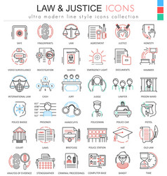 Law and justice ultra modern color outline vector image