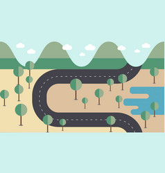 map road cross the mountains vector image