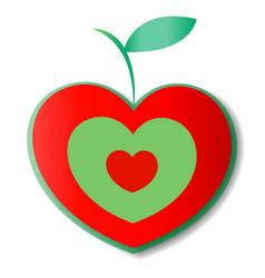 natural apple logo heart vector image vector image