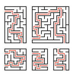 a set of square and rectangular labyrinths with vector image