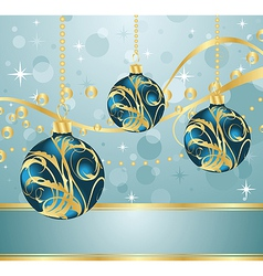 Abstract blue background with christmas balls vector