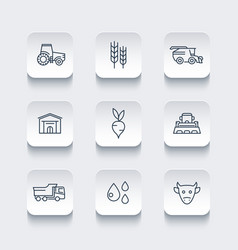 Agriculture farming line icons vector