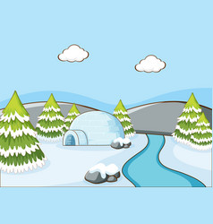 Background scene with igloo river vector