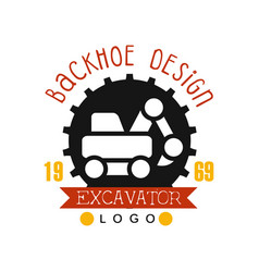 Backhoe design estd 1989 excavator logo vector
