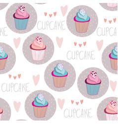 Beautiful yummy cupcake seamless background vector