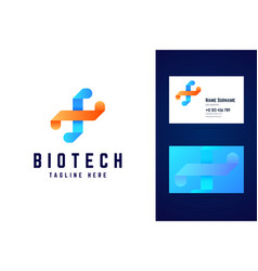 Biotechnology dna logo and business card template vector