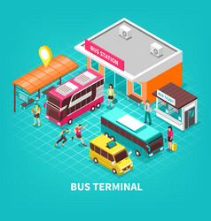 Bus terminal isometric vector