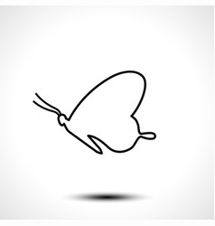 butterfly line icon isolated on white background vector image