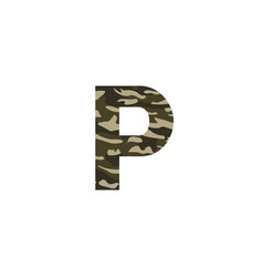 camouflage logo letter p vector image