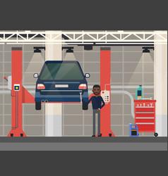 car repair or diagnosticvehicle at lift elevator vector image