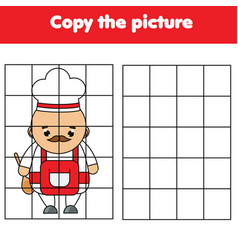 cartoon chef grid copy worksheet educational vector image