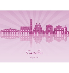 Castellon skyline in purple radiant orchid vector image